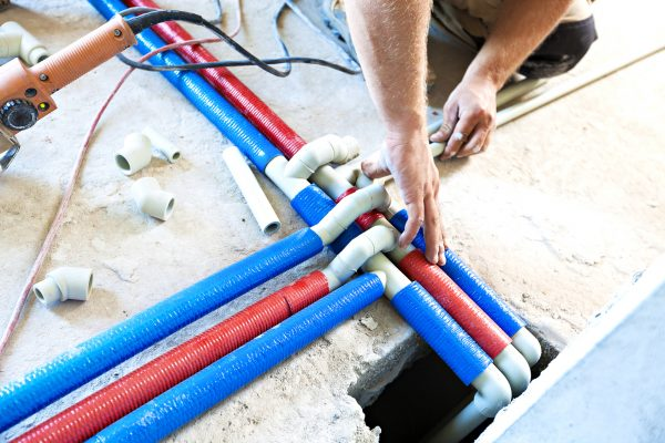 Plumber welded plastic pipes