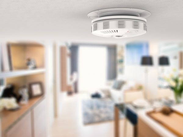 3d rendering smoke detector on ceiling