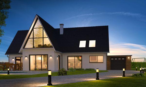 Belle maison de nuit contemporaine moderne avec piscine